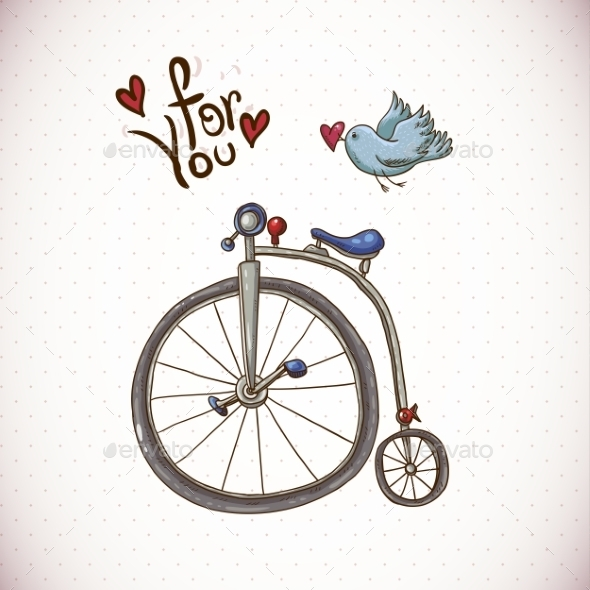 Vintage Card with Retro Bike and Bird