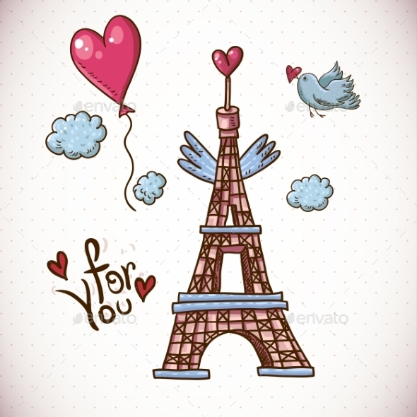 GraphicRiver Vintage Card with Eiffel Tower and Heart 10765439