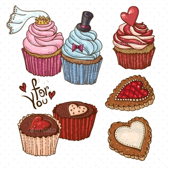 GraphicRiver Doodle Set Elements with Cookies and Cupcakes 10765448