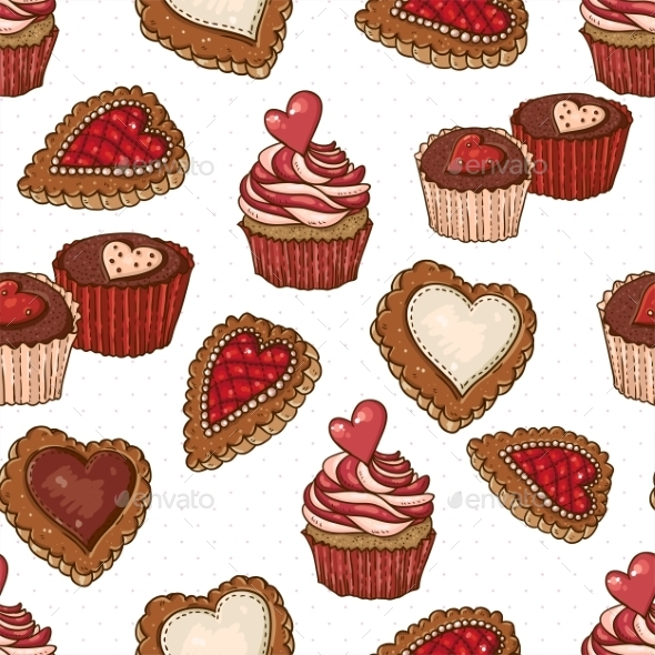 GraphicRiver Seamless Background with Cookies and Cupcakes 10765454