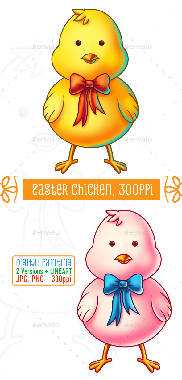 GraphicRiver Easter Chicken Cartoon Character 10753498
