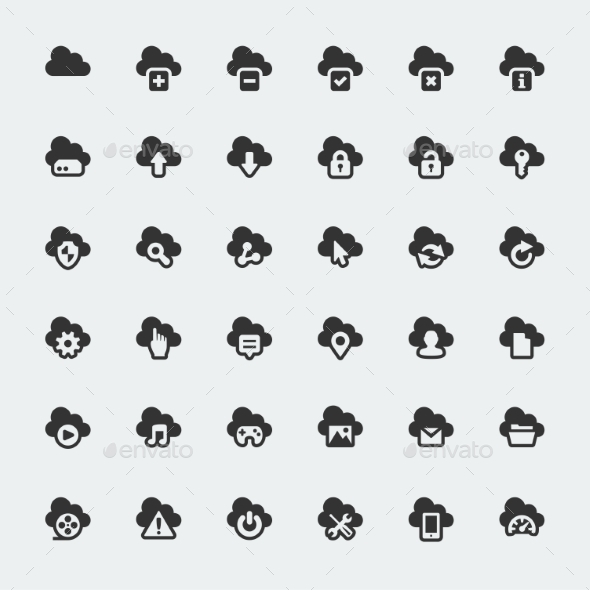 GraphicRiver Cloud Technology Icons Set 10765529