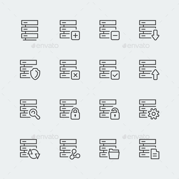 GraphicRiver Hosting Computer Network Vector Icons Set Thin l 10765599