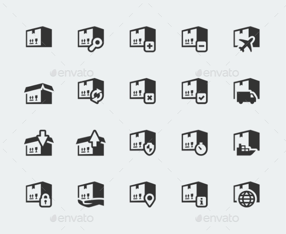 GraphicRiver Logistics and Shipping Vector Icons Set 10765607