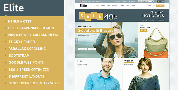 ThemeForest Elite Responsive Magento Theme 10765640