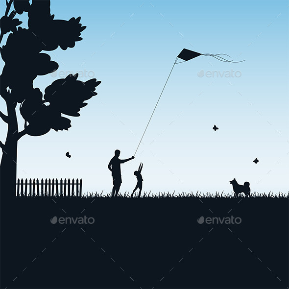 GraphicRiver Father and Child Play with Kite 10765741