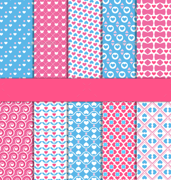 GraphicRiver Set of Ten Seamless Love Patterns 10765745