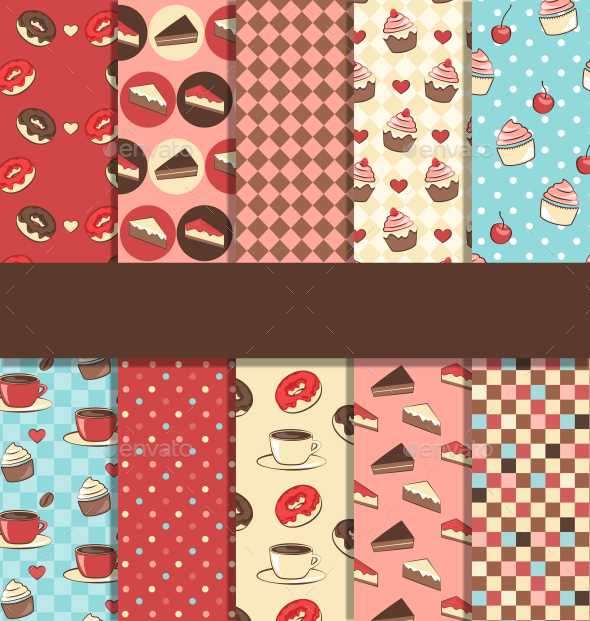GraphicRiver Set of Ten Seamless Sweet Patterns 10765843