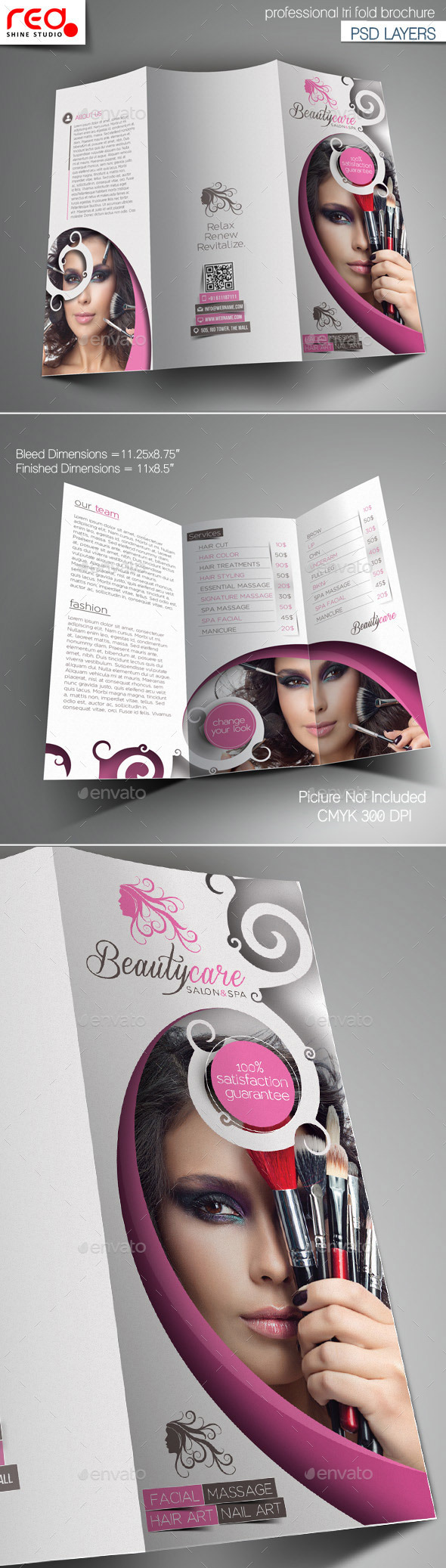 GraphicRiver Beauty Care Trifold Brochure Template 10765856