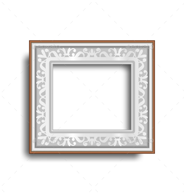 GraphicRiver Silver Frame with Ornament Isolated on White 10766062