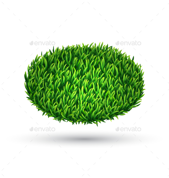 GraphicRiver Green Grass Oval with Shadow Isolated on White 10766095