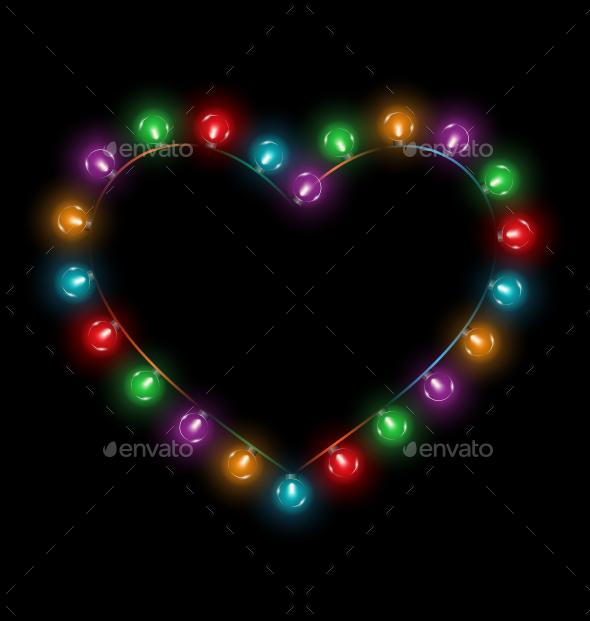 GraphicRiver Multicolored Glassy Lights Heart Frame 10766166