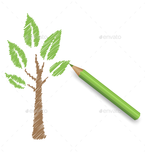 GraphicRiver Pencil Draws Green Eco Tree 10766234