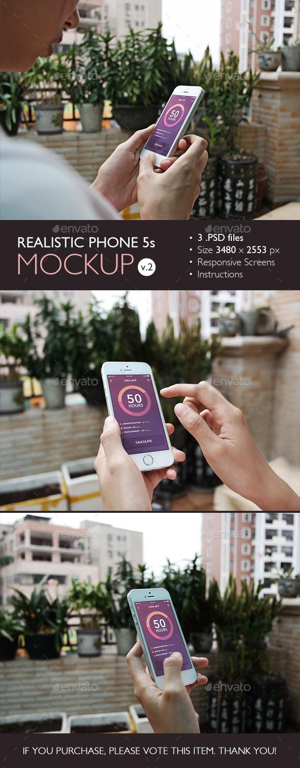 GraphicRiver Realistic Phone 5s Mockup v.2 10766266