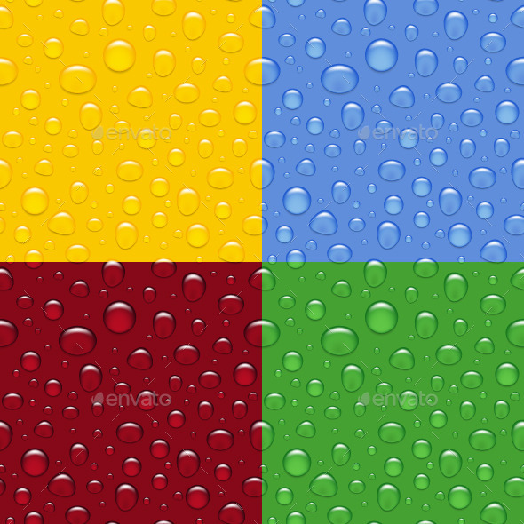 GraphicRiver Set of Water Drops Seamless Backgrounds 10766340