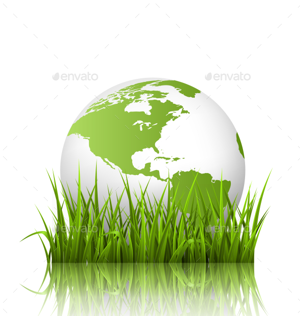 GraphicRiver Green Planet Icon with Globe and Grass 10766485