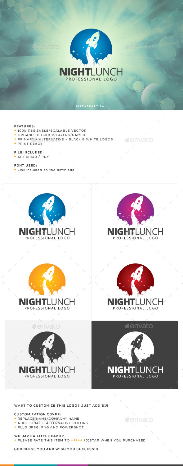 GraphicRiver Night Lunch Logo Template 10766488