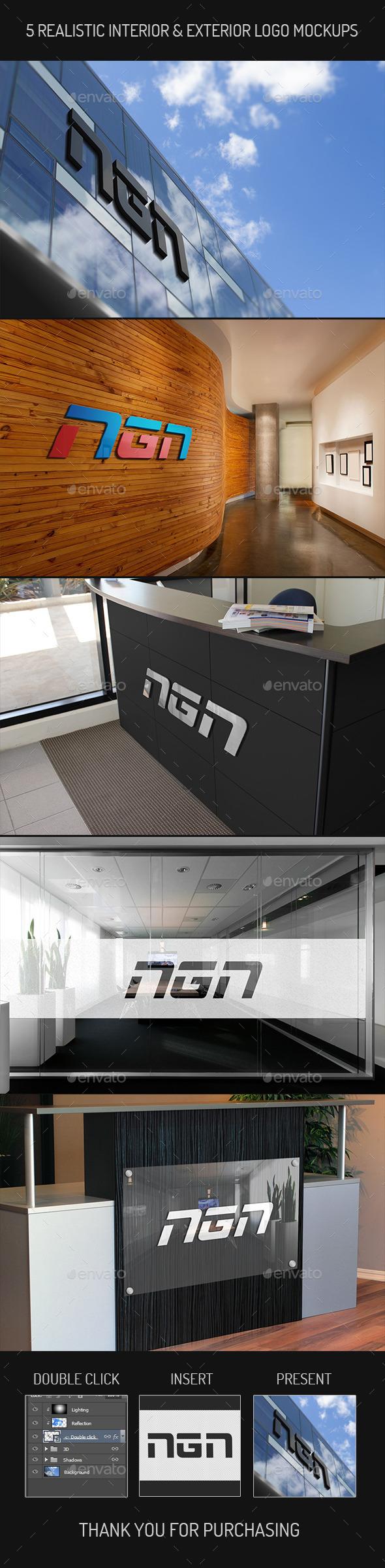 GraphicRiver 5 Realistic Interior & Exterior Logo Mock-ups 10766557