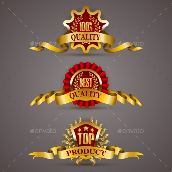 GraphicRiver Golden Badges with Laurel Wreath 10766956