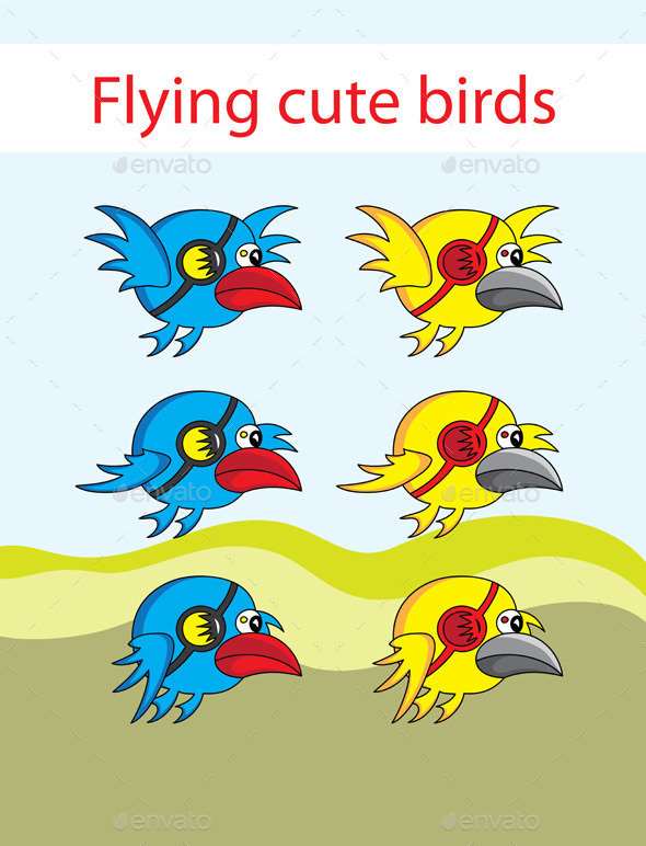 GraphicRiver Flying cute birds 10767001