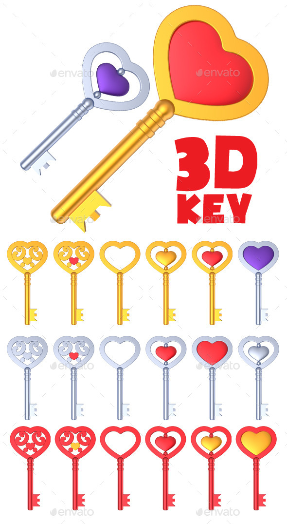 GraphicRiver Heart Shaped Key 3D 10767015