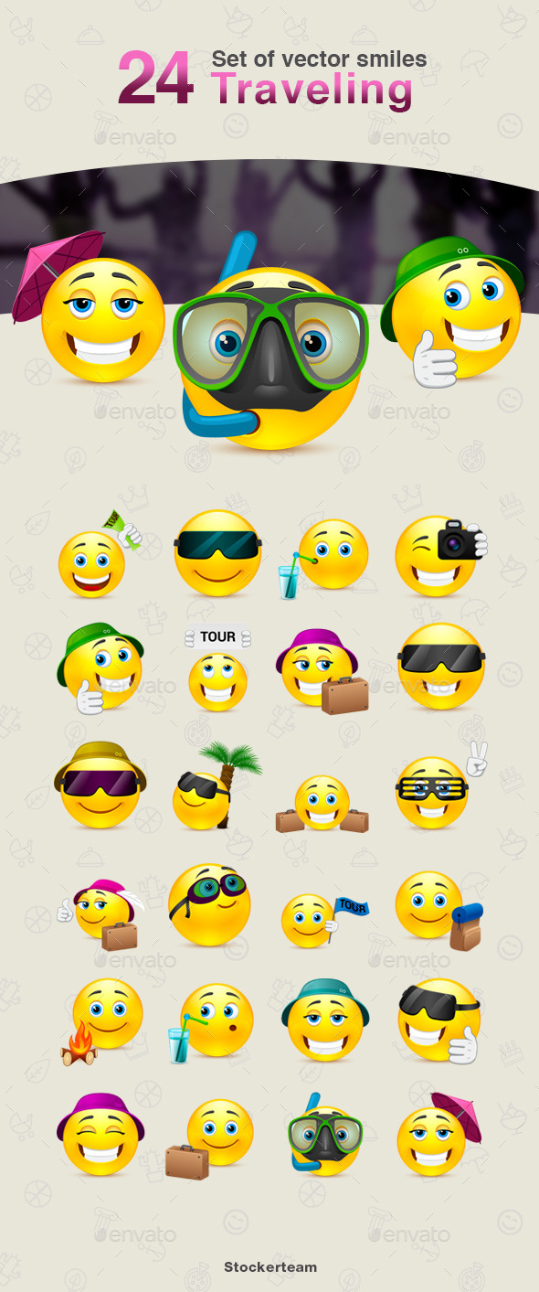 GraphicRiver Set of Traveling Smiles 10767055