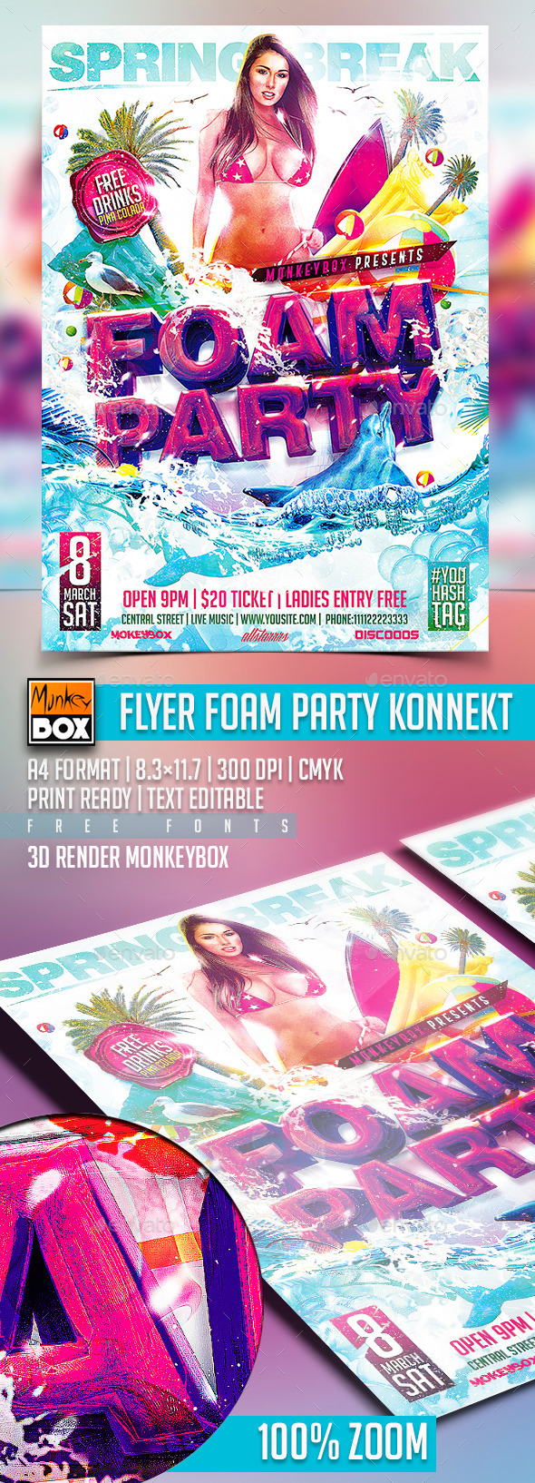 GraphicRiver Flyer Foam Party Konnekt 10767098