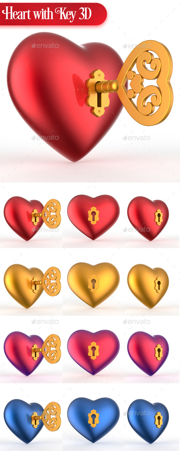 GraphicRiver Heart with Key 3D 10767211
