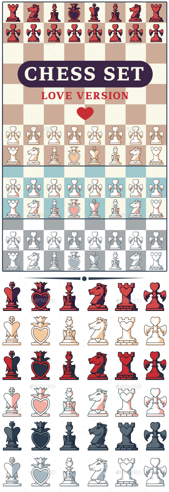 GraphicRiver Love Chess Game Set 10767427