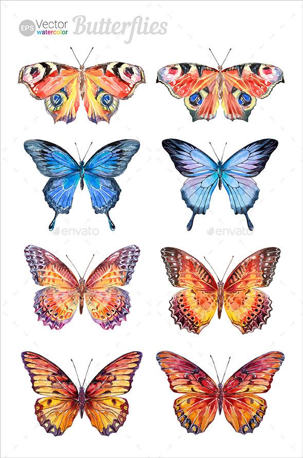 GraphicRiver Watercolor Butterflies Set 10767459