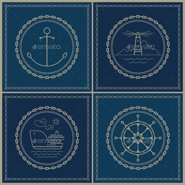 GraphicRiver Set of Marine Emblems 10767611