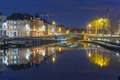 Embankment of the river Leie in Ghent town at night, Belgium - PhotoDune Item for Sale