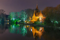 Fairytale night landscape at Lake Minnewater in Bruges, Belgium - PhotoDune Item for Sale