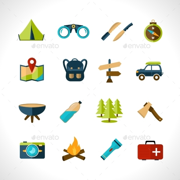 GraphicRiver Camping Icons Set 10767672