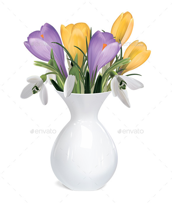 GraphicRiver Bouquet of Crocuses and Snowdrops in Vase 10767684