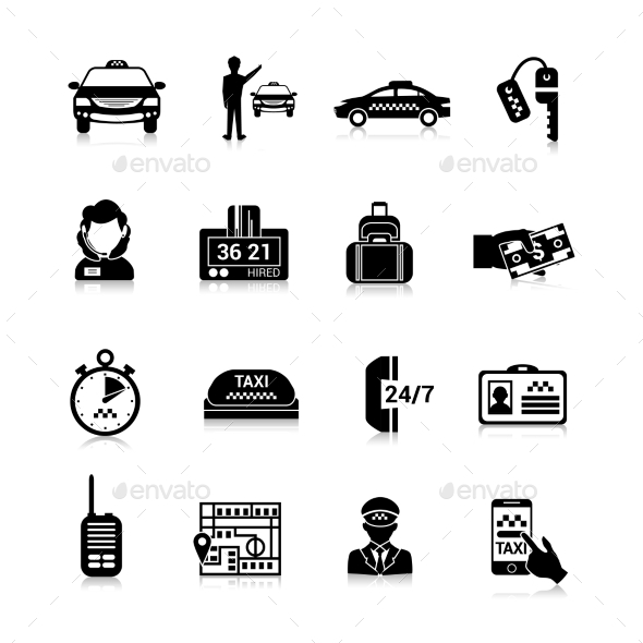 GraphicRiver Taxi Icons Black 10767732