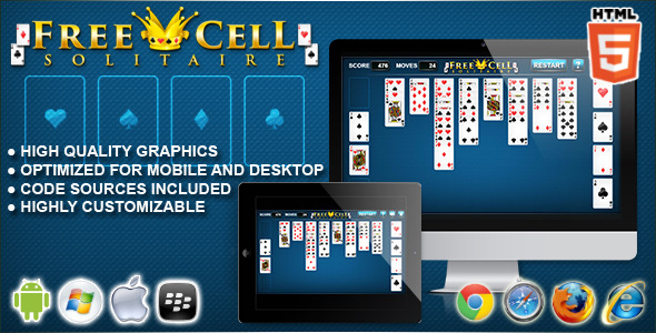 CodeCanyon FreeCell Solitaire HTML5 Solitaire Game 10767798