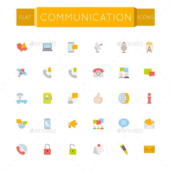 GraphicRiver Flat Communication Icons 10768067