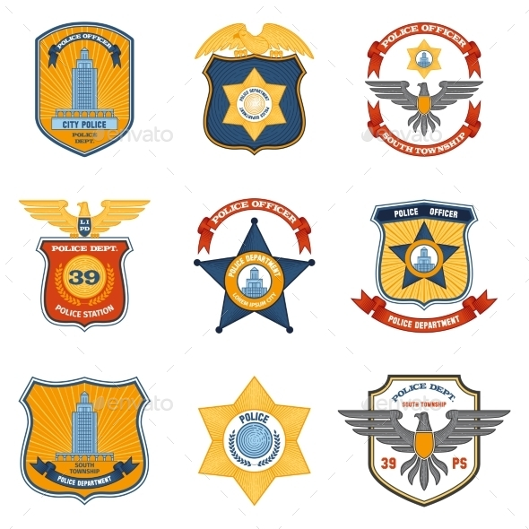 GraphicRiver Police Badges Colored 10768140