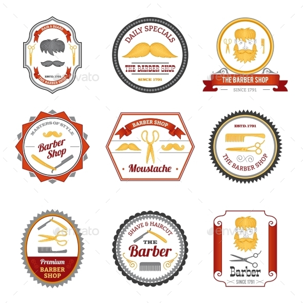 GraphicRiver Barber Shop Emblems Colored 10768241