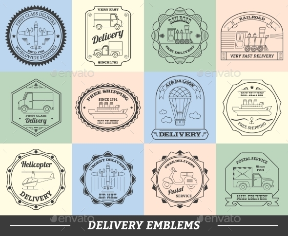 GraphicRiver Delivery Emblems Set 10768319