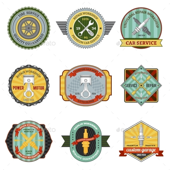GraphicRiver Repair Workshop Retro Badges 10768417