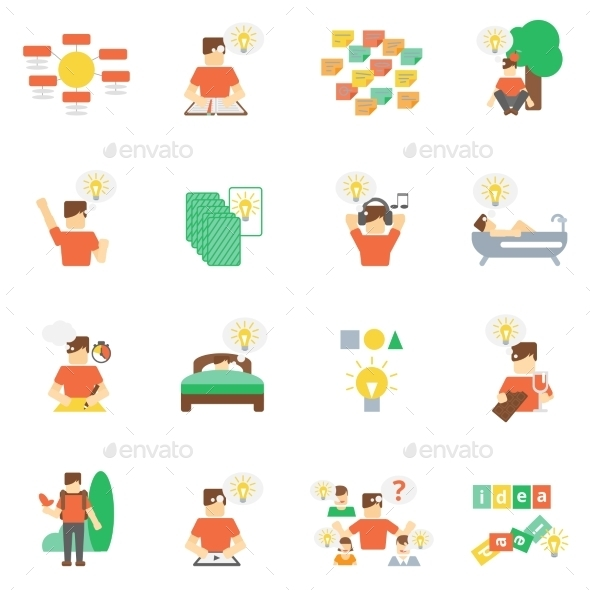 GraphicRiver Ideas Icons Flat Set 10768740