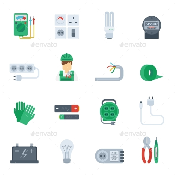 GraphicRiver Electricity Icon Flat Set 10768778