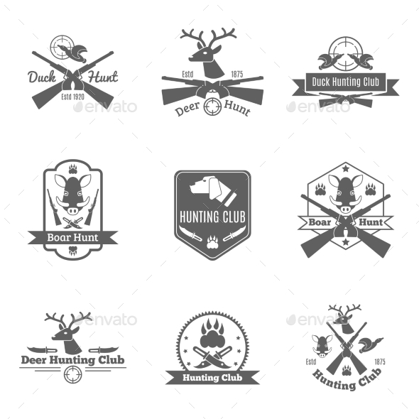 GraphicRiver Hunting Label Set 10769031