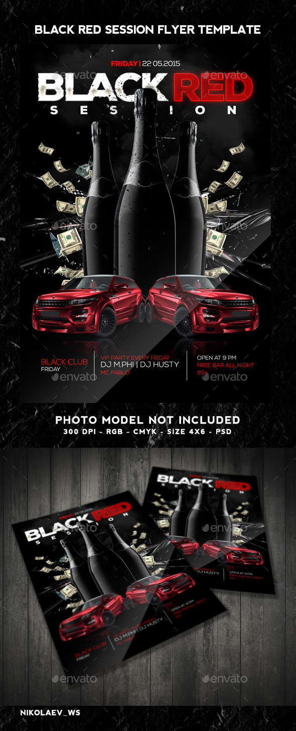 GraphicRiver Black Red Session Flyer 10769196