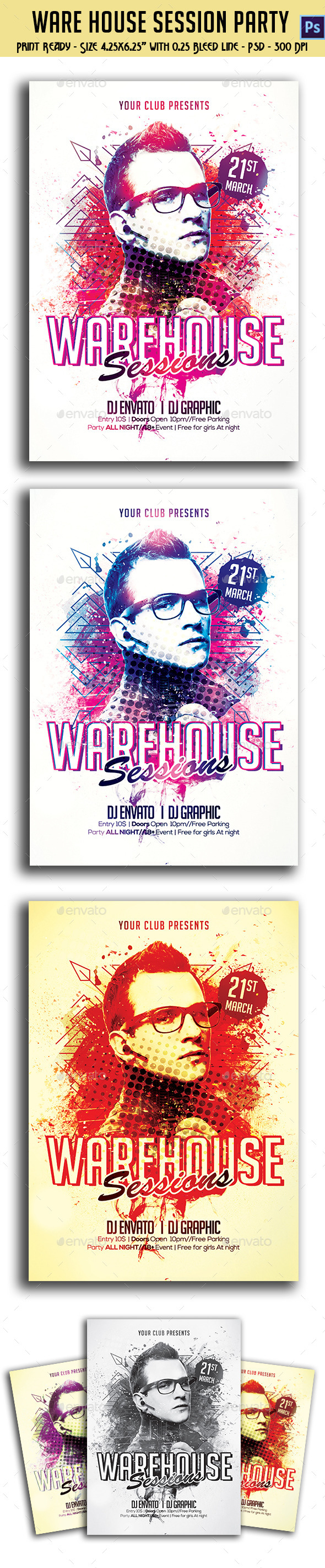 GraphicRiver Ware House Session Party Flyer 10769248