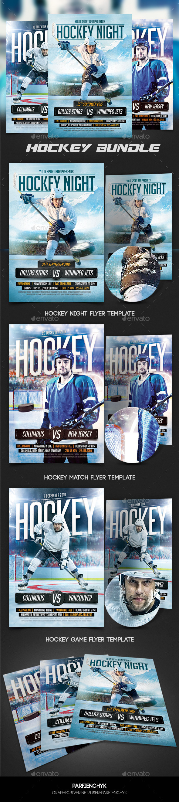 GraphicRiver Hockey Flyers Bundle 10769262