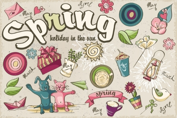 GraphicRiver Set of Spring Colored Doodles 10769510