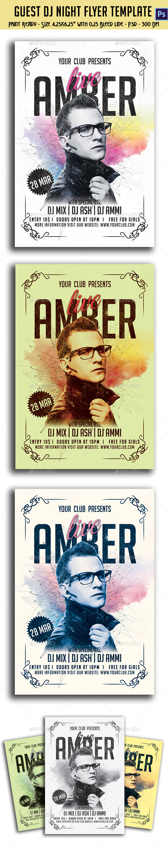 GraphicRiver Live Guest Dj Night Flyer Template 10769511